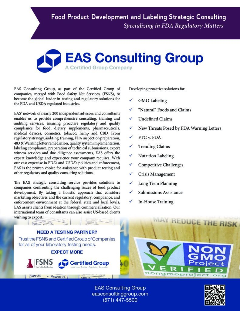 Food Product Development and Labeling Strategic Consulting Services