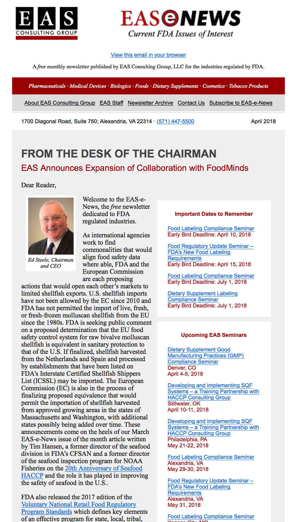 EAS-e-News April 2018