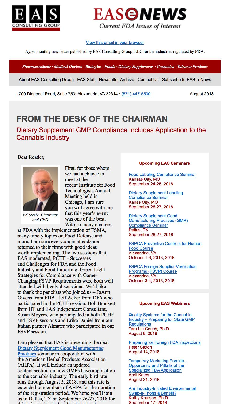 EAS-e-News August 2018