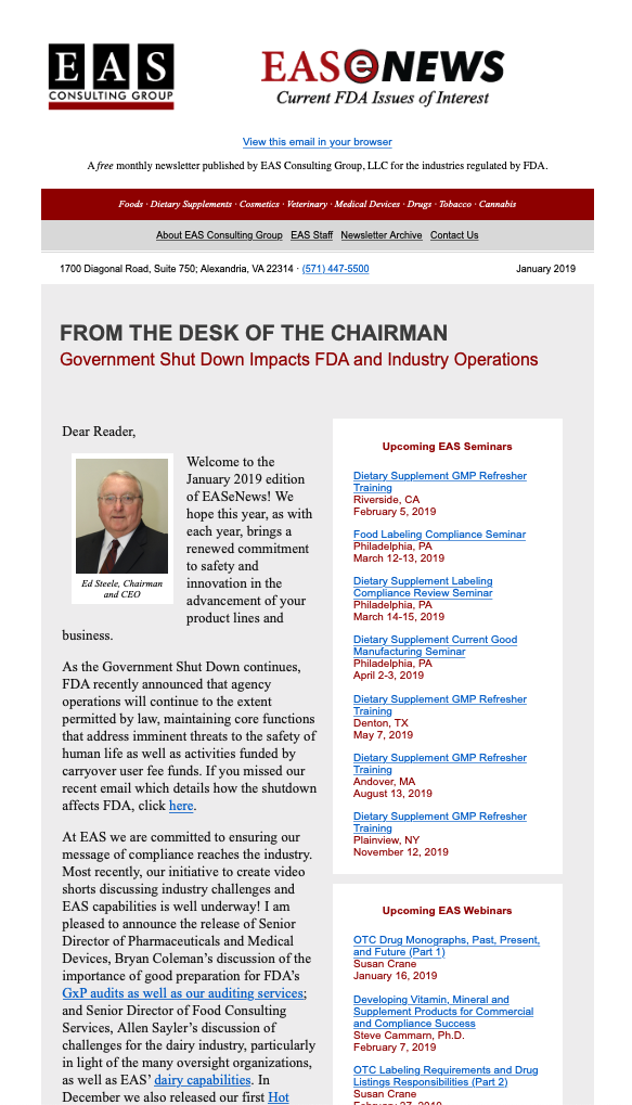 EAS-e-News January 2019