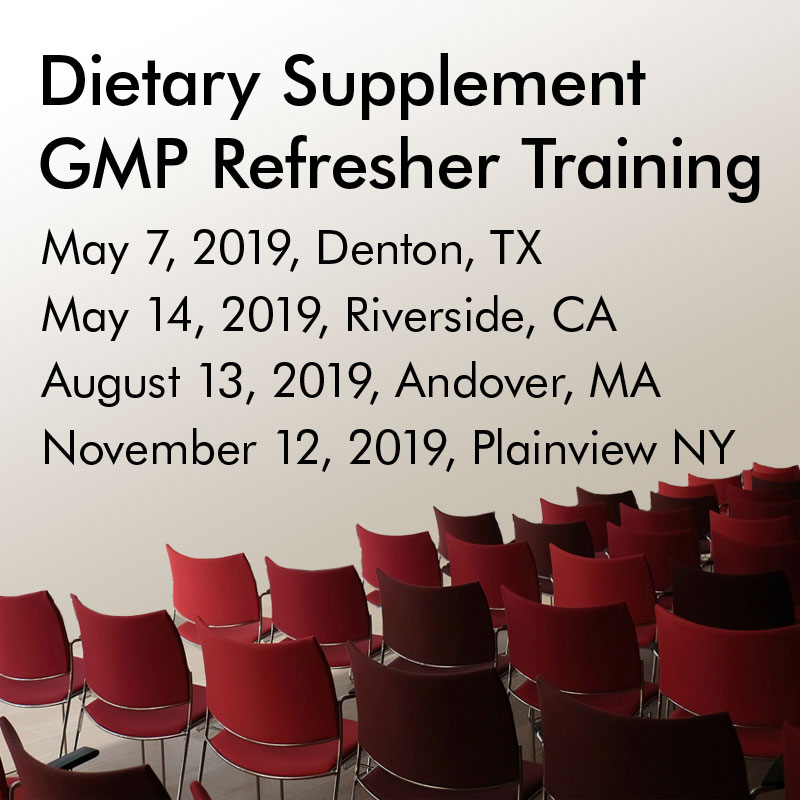 Dietary Supplement GMP Refresher Training
