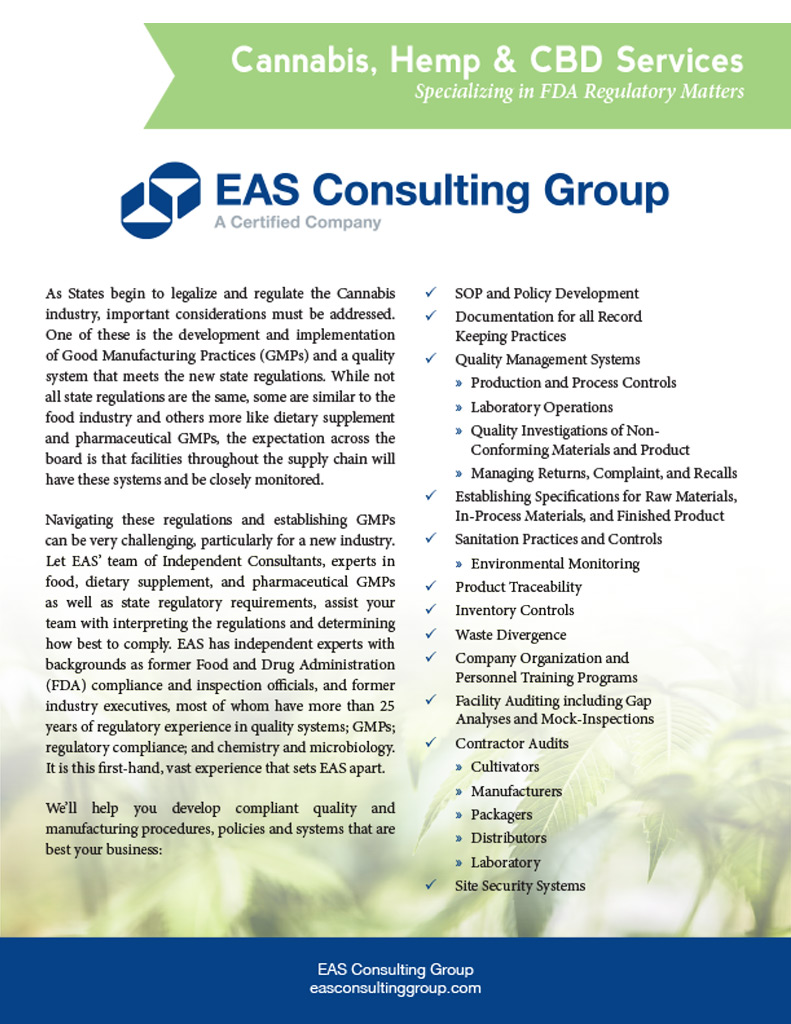 Cannabis Services EAS Consulting Group