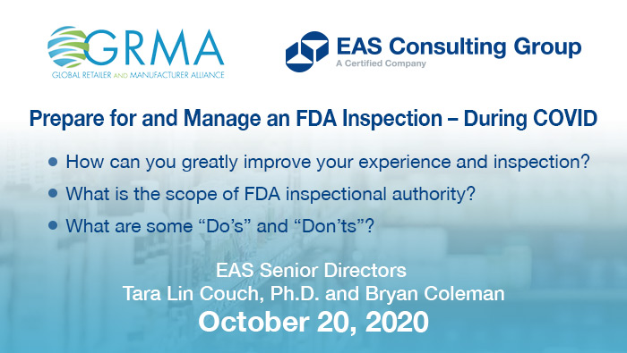 GRMA Prepare for and Manage an FDA Inspection