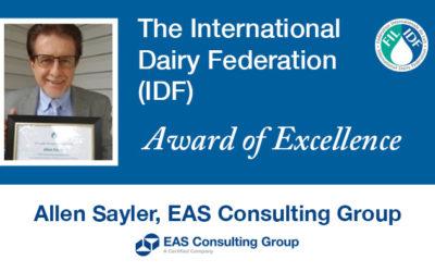 Allen Sayler Awarded International Dairy Federation Award of Excellence