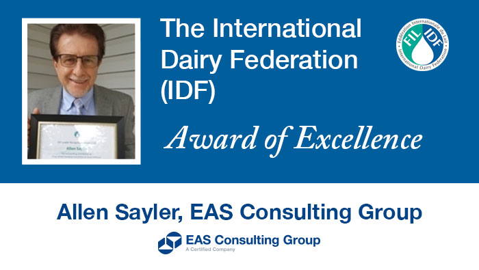 Allen Sayler Awarded International Dairy Federation Award of Excellence