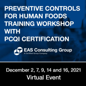 Seminar Preventive Controls for Human Foods Training Workshop with PCQI Cert