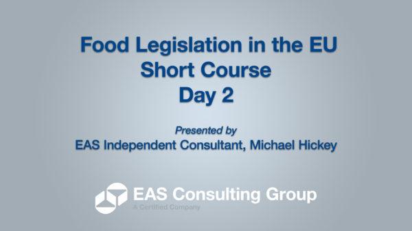 Food Legislation in the EU - Short Course
